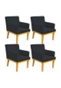 Kit 04 Poltronas Decorativa Para Sala De Estar Base Mel Beatriz W01 Corano Preto - Lyam Decor