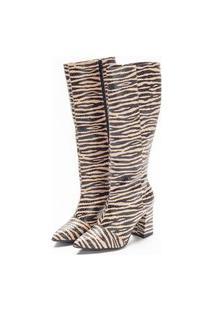Bota Feminina Talita Cano Médio Zebra Amêndoa