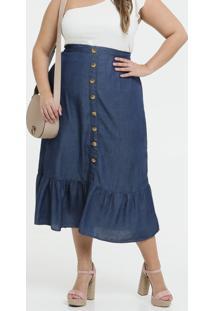 Saia Feminina Jeans Midi Botões Plus Size