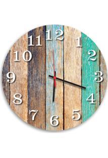 Relógio De Parede Decorativo Madeira Pátina Colorida 35Cm Médio
