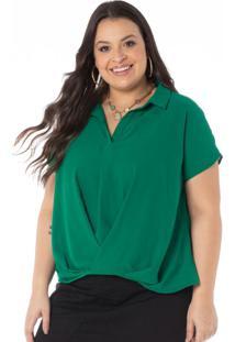 Blusa Em Double Crepe Verde Malaquita