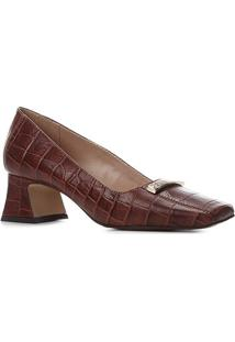Scarpin Couro Shoestock Croco Salto Médio Flare Metal - Feminino-Tabaco