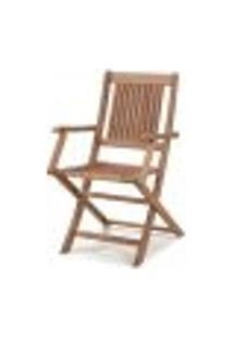Cadeira Dobrável Com Braços Para Áreas Externas Em Madeira Eucalipto - Maior Durabilidade – Canela