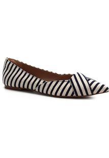 Sapatilha Shoestock Bico Fino Tecido - Feminino-Marinho