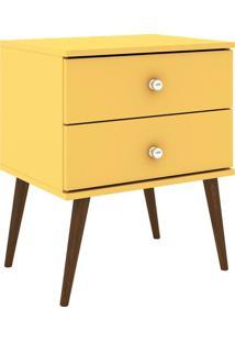 Criado Mudo Com Gaveta- Amarelo & Marrom- 60X50X38Cmmovel Bento