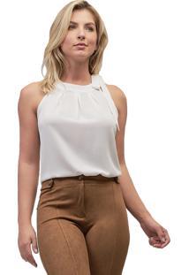 Blusa Crepe Mx Fashion Laço Eloah Off White