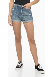 Bermuda Jeans Mom Com Puídos - Azul Médio - 40