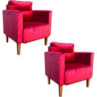 40c428ad7a Kit 02 Poltrona Decorativa Lívia Para Sala E Recepção Suede Acetinado  Vermelho Trabalhado - D'