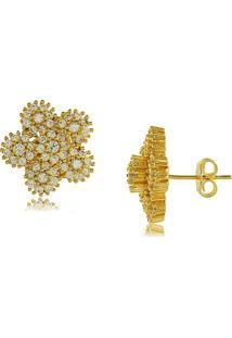 Brinco Flor Com Mini Zircônias Cravejadas 3Rs Semijoias Dourado