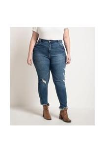 Calça Skinny Jeans Com Barra Mordida E Puidos Curve & Plus Size Azul