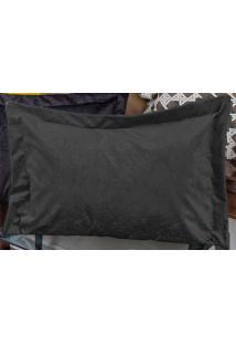 Porta Travesseiro Murano 70Cm X 50Cm Preto Em Suede Com 1 Peça - Enxovais Ibitinga
