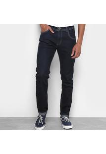 Calça Jeans Slim Coffee Cintura Média Masculina - Masculino-Azul Escuro