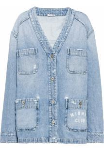 Miu Miu Jaqueta Jeans Gola V - Azul