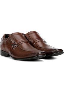 Sapato Social Couro Mariner Bico Quadrado Smart Masculino - Masculino-Marrom