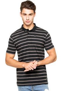 Camisa Polo Oakley Striped Preta/Cinza