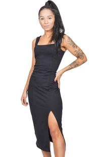 Vestido Feminino Liso Midi Com Fenda Preto