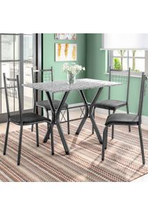 Conjunto De Mesa Miame Com 4 Cadeiras Lisboa Preto E Petróleo
