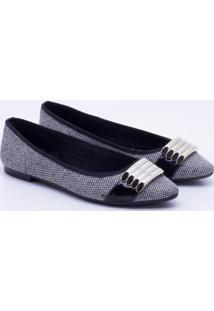 Sapatilha New Casual Tweed - Feminino-Preto