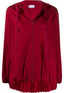 Red Valentino Jaqueta Com Pregas E Zíper - Vermelho