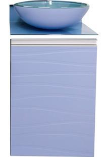 Toucador Com Cuba Em Mdf Marsala 80X45Cm Azul Sereno E Branco