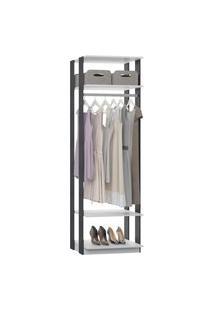 Closet 1008C Branco/Cinza - Be Mobiliario