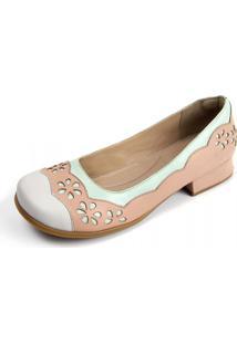 Sapato Gasparini Estilo Boneca Branco/Rosé/Azul