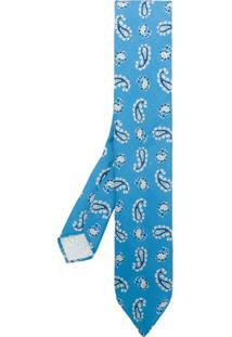 Lardini Gravata De Seda Estampada - Azul