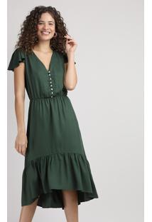 Vestido Feminino Midi Com Babado Manga Curta Decote V Verde Militar
