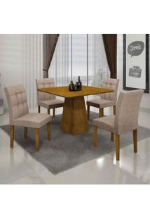 Conjunto De Mesa Com 4 Cadeiras Itália Iii Linho Canela E Bege