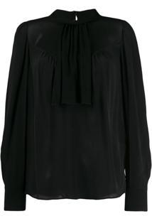 Twin-Set Blusa Com Colarinho - Preto