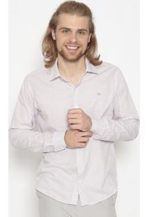 Camisa Slim Fit Xadrez- Off White & Rosa Claroogochi