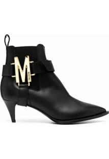 Moschino Ankle Boot Com Placa M - Preto