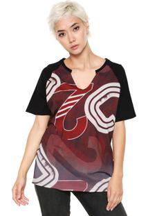 Camiseta Sommer Estampada Vinho