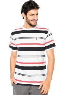Camiseta Aleatory Multi Listras Branco/Azul/Vermelho
