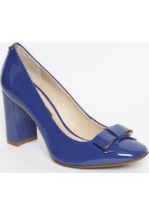 Sapato Em Couro Com Laço- Azul- Salto: 8,5Cmjorge Bischoff