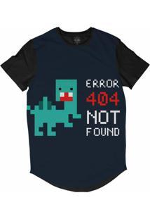 Camiseta Insane 10 Longline Erro 404 Pixelado Sublimada Preto Azul