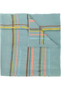 Janavi India Cachecol De Cashmere Com Listras Horizontais - Azul
