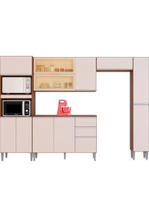 Cozinha Compacta C/ Balcão E Painel Aline-Poquema - Capuccino / Off White
