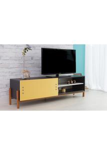 Rack De Tv Preto Moderno Vintage Retrô Com Porta De Correr Amarela Eric - 166X43,6X48,5 Cm