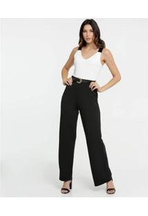 Macacão Bicolor Pantalona Marisa Feminino - Feminino-Preto