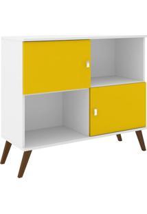 Rack Retrô - Branco & Amarelo - 86X95X37Cmmovel Bento