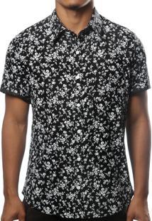Camisa Camaleão Urbano Floral Califórnia Preta