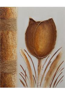 Quadro Artesanal Com Textura Tulipa Marrom 40X50Cm Uniart