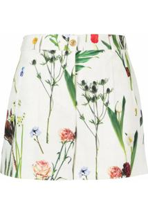 Boutique Moschino Bermuda Reta Com Estampa Floral - Neutro