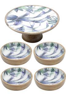 Conjunto Flower Com Prato Para Bolo E 4 Bowls De Madeira Bon Gourmet Azul/Branco - Kanui