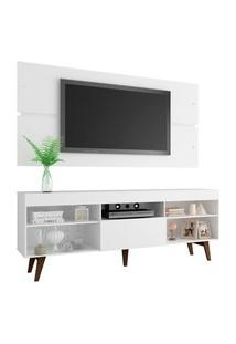 Rack Com Painel Para Tv Até 65 Polegadas Madesa Miami Com Pés - Branco/Rustic Branco