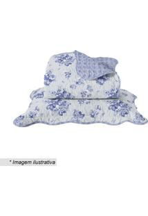 Conjunto De Colcha Boutis Floral Casal- Branco & Azul