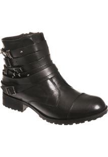 Ankle Boot Em Couro Preto Com Fivelas