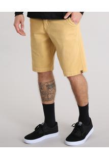 Bermuda Masculina Reta Texturizada Com Cordão Amarela