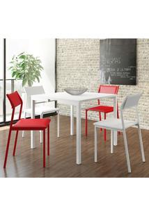 Mesa 1525 Branca Com 4 Cadeiras 1709 Color Uv Branco/Vermelho Carraro